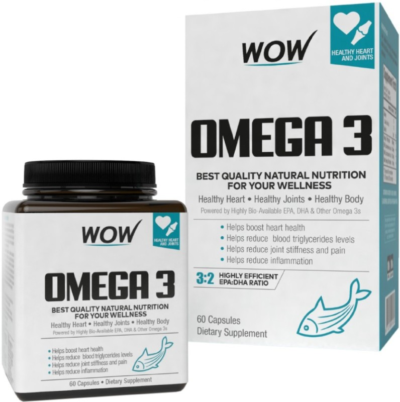 WOW Life Science Omega-3 Fish Oil 1000 mg Triple Strength (550mg EPA 350mg DHA)(60 No)